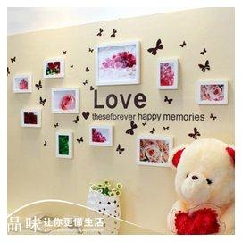 悠韻淡雅 實木照片牆 客廳歐式相框牆 樓梯兒童餐廳臥室相片牆送牆貼 全白色框 送玫瑰畫心