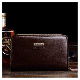 布契拉提 男士復古商務多 手抓包皮手包雙拉鏈錢包男皮夾 深棕色