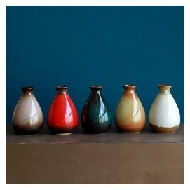 復古陶瓷花瓶 衛生間裝飾品擺件彩釉迷你小花瓶 彩色藝術花瓶擺設