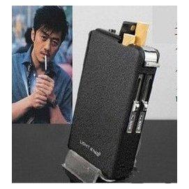 自動煙盒 帶防風打火機 黑磨砂 裝煙 正品明星同款煙盒 潮男