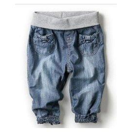 超柔軟 女童春夏 兒童薄款牛仔褲寶寶護肚褲縮口長褲