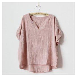 日繫森女裝原創文藝範寬松大碼顯瘦短袖亞麻棉麻布T恤襯衫上衣夏