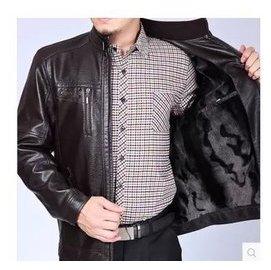 秋鼕中老年男士真皮衣夾克立領大碼綿羊皮外套上衣爸爸裝包郵