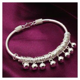 990足銀女款波西米亞風鈴鈴鐺手鐲純銀手環開口鐲子送女友