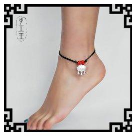 蛇皮繩925純銀飾品手鏈腳鏈闢邪紅繩男女款情侶寶寶款鈴鐺鎖