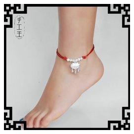 寶寶男女款紅繩手鏈腳鏈蛇皮繩925銀飾品六六大順鈴鐺鎖吊墜