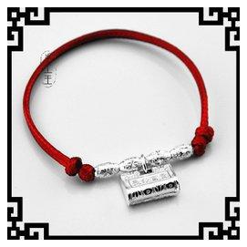 森女繫 紅繩蛇皮繩925純銀飾品手鏈腳鏈男女寶寶款 路路通彌勒佛