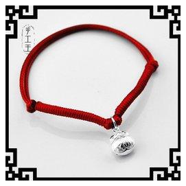 紅繩蛇皮繩手鏈手繩腳鏈寶寶男女款闢邪福袋99足銀990純銀飾品