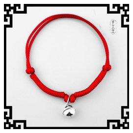 民族風格手鏈腳鏈男女小孩款 紅繩亮皮繩原創銀飾 飾品 大鈴鐺
