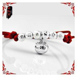 本命年紅繩蛇皮繩925純銀 飾品男女寶寶款手鏈腳鏈鈴鐺鎖