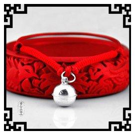 民族風925銀手鏈腳鏈男女小孩款紅繩亮皮繩原創 飾品 超大鈴鐺