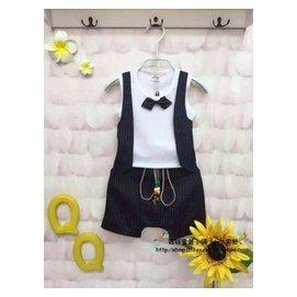 2015 男童夏裝套裝 帥氣假兩件黑色馬甲套裝禮服西裝潮