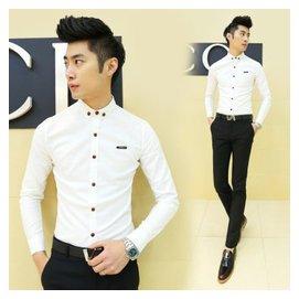 2015春裝 男士 修身長袖免燙襯衫 商務 立領襯衣男潮衣 白色