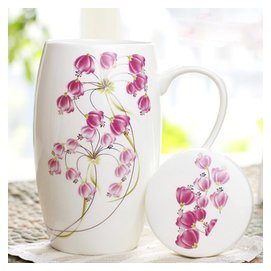 骨瓷杯大容量水杯馬克杯茶杯陶瓷杯子大腰鼓杯帶蓋