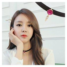 PS Mall 韓劇最愛款 黑色皮革水鑽項圈項鍊 脖鍊~G1893~