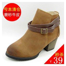 斷碼女鞋 磨砂牛皮短靴 大碼復古打蠟粗跟真皮馬丁靴
