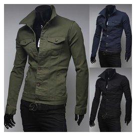 正品 男裝軍旅風薄款夾克男 修身外套德國 軍裝軍綠色潮
