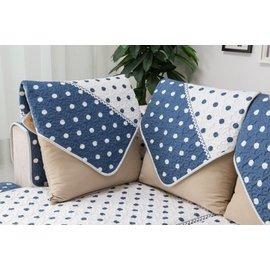 ~RS雜貨?~70x70cm 沙發墊沙發巾沙發罩床墊床前墊床旁電視櫃墊客廳地墊 圓點藍白款