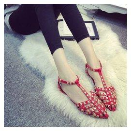 歐洲站 女鞋銅柳釘細線條 扣帶平底尖頭鞋英倫風涼鞋女