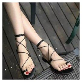2014 涼鞋平底女 大牌女鞋夾趾交叉綁帶尖頭平跟羅馬鞋