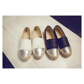 淺口皮質草鞋 一腳蹬帆船鞋女款平底懶人防滑單鞋