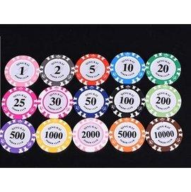皇冠14克磨砂黏土德州撲克桌子麻將定製籌碼幣 自己選擇面額最少100個