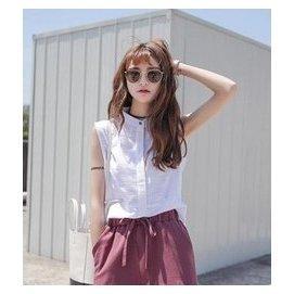 韓國復古洋氣微透小立領寬松無袖棉麻白色襯衫 襯衣上衣女