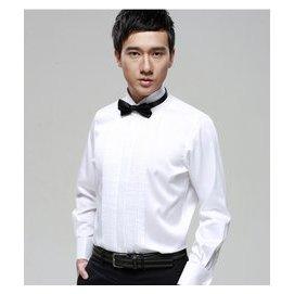 燕子領襯衫演出結婚禮服襯衣白色男士禮服長袖舞台修身送黑紅領結