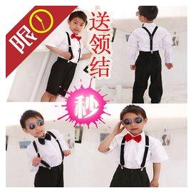 六一兒童演出服裝合唱服裝背帶褲短褲婚禮花童禮服男童演出服裝