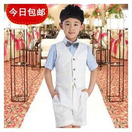 QJ♀韓國高檔男童馬甲套裝男孩主持人禮服花童鋼琴表演服裝大童夏