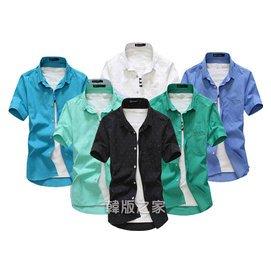 氣質簡約! 百搭 五星印花襯衫 條紋男士短袖襯衣 385