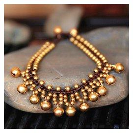 37 泰國銅鈴腳鏈 蠟繩編織民族風鈴鐺銅鈴簡約素色