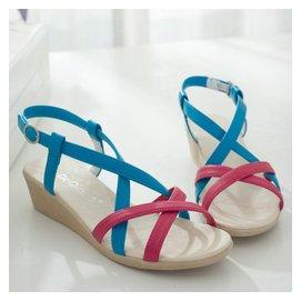 真皮涼鞋女中跟坡跟厚底鞋95港麗人達芙妮舒適羅馬平底鞋