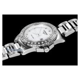 浪琴LONGINES康卡斯系列白色貝母鑲鑽鋼帶女錶L3.258.0.88.6