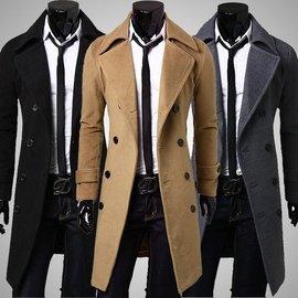 潮男 長大衣 男士大翻領長款西裝外套 雙排扣修身長版軍裝外套 簡約 大衣 防風外套 夾克休