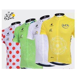 2件免郵 排汗吸濕2014環法冠軍領騎衫騎行服短袖上衣 車衣 男女款自行車騎行服裝