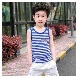 男童背心14 夏裝純棉兒童圓領針織無袖衫中大童條紋背