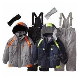 兒童滑雪服套裝男童戶外衝鋒衣背帶滑雪褲套裝兩件套
