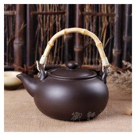 宜興正品紫砂全 竹提梁壺 陶瓷燒水壺 煮茶壺 養生直火朱泥壺