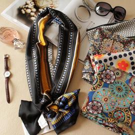韓國新品波點長小絲巾 夏仿絲緞面小圍巾 雙層薄領巾 女圍脖