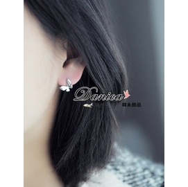 耳環正韓 氣質甜美百搭蝴蝶紛飛925銀針耳環K90552  價 Danica 韓系飾品