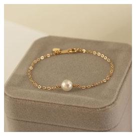 簡約百搭14注金包金手鏈女 天然珍珠強光正圓無暇