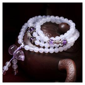 天然白瑪瑙紫水晶108顆佛珠念珠手鏈 祈福闢邪飾品 首飾 款