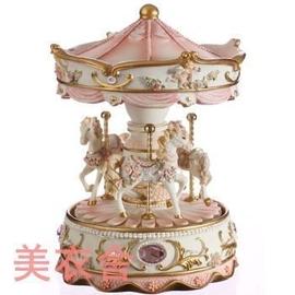 商城 清涼音 粉色寶石旋轉木馬十八音機芯音樂盒八音盒送女朋友生日