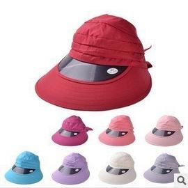 帽子女夏天防紫外線空頂遮陽帽 沙灘太陽帽騎車膠版大沿防曬帽 棒球帽網帽漁夫帽遮陽帽寬緣荷葉
