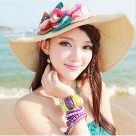 女士夏天帽子夏天女帽子立體花朵翻邊大沿遮陽帽草帽沙灘防曬帽 棒球帽網帽漁夫帽遮陽帽寬緣荷葉