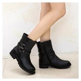 2014秋鼕女靴低跟馬丁靴真皮靴子女短筒 短靴粗跟女鞋子