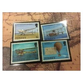 英屬澤西 Jersey 1973年航空歷史 郵票 氣球 飛機 票中票