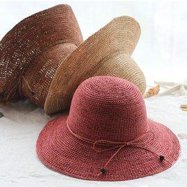 高端 拉菲草帽子女夏 大檐沙灘帽防紫外線遮陽帽漁夫太陽帽