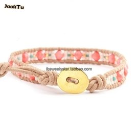 luu珊瑚可愛女人林心如明星款新品米珠單圈皮繩手鏈